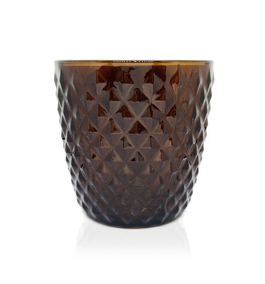 Amber Diamond Cut Glass Candle Jar - 250mls