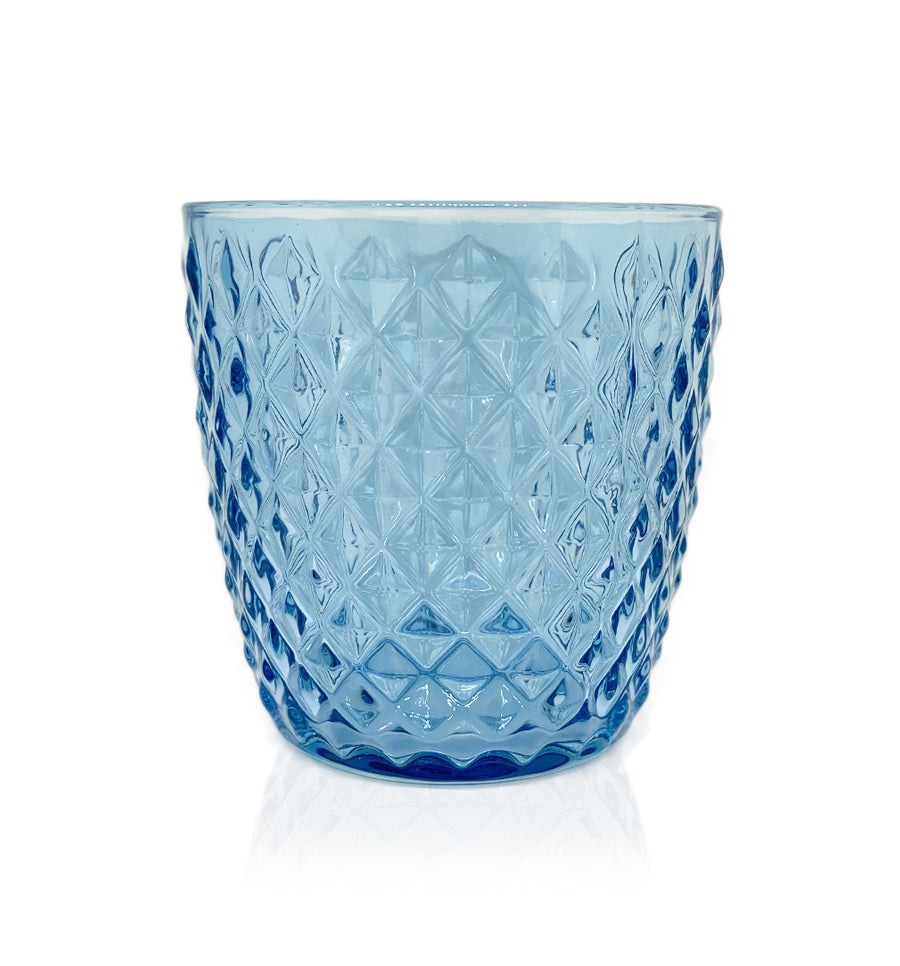 Blue Diamond Cut Glass Candle Jar - 250mls