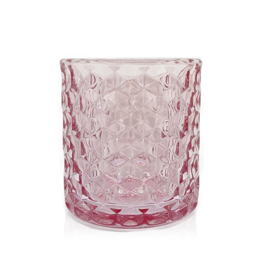 Pink Hexagon Cut Glass Tumbler - 230-250mls