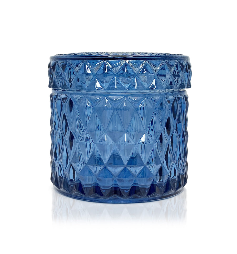 Diamond Vintage Cut Glass Candle Jar with Lid - 200mls - Smoke Blue