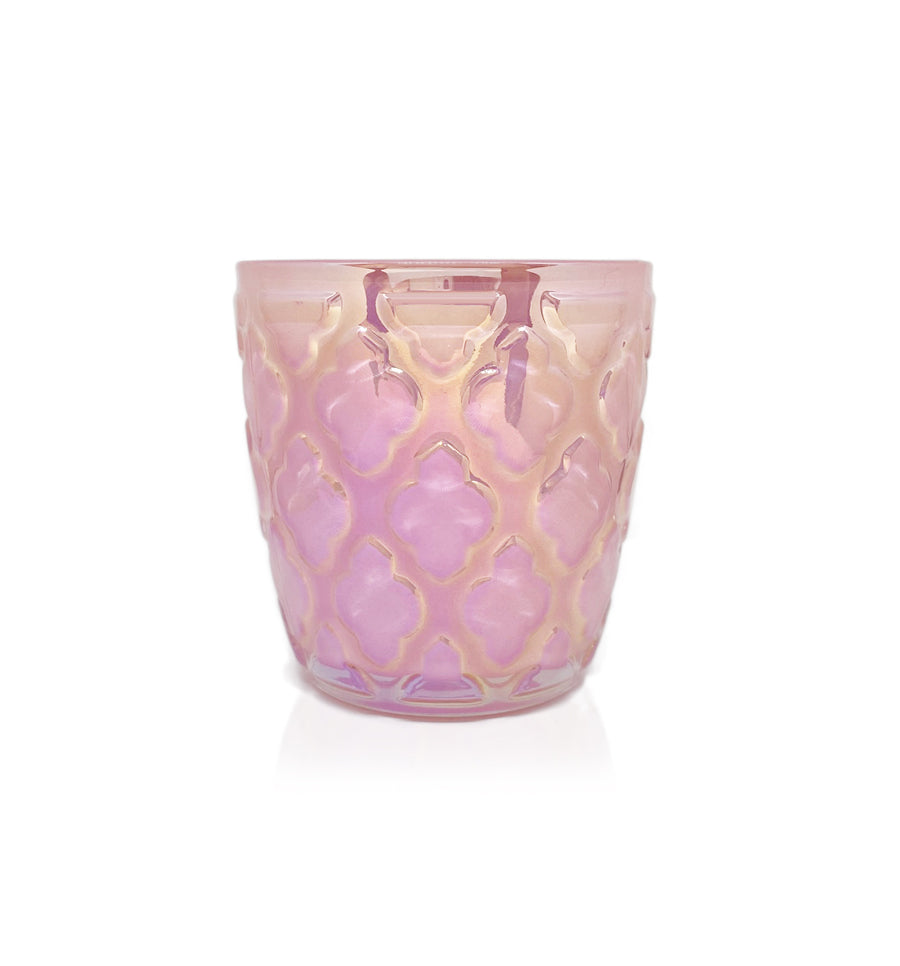 Vintage Flare Cut Glass Candle Jar - 150mls - Pink Ion