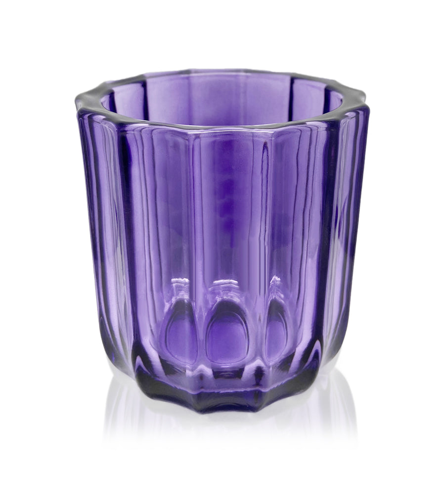 Purple Fluted Thick Wall Glass Candle Jar - 300mls