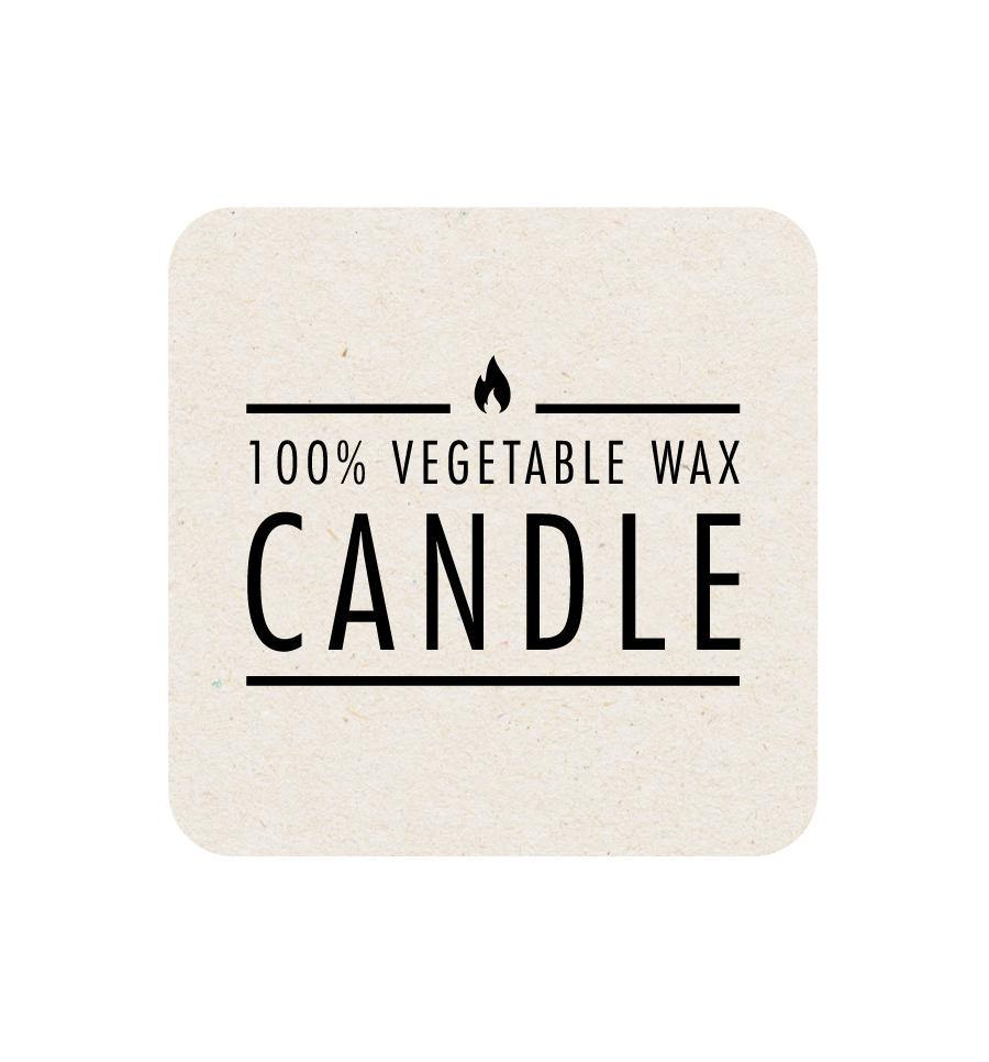 100% Vegetable Wax Candle Label - Natural Background 5 x 5cm