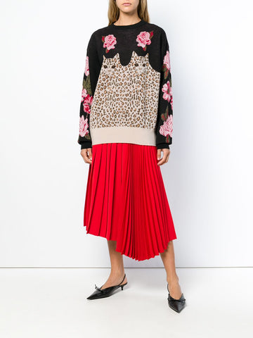 Vivetta Flower and Leopard Knit Sweater