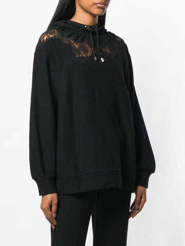 Ermanno Scervino Hoodie With Lace On Shoulders