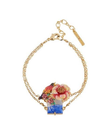 Les Nereides Multicolor Bird And Pink Flower On Stone Bracelet