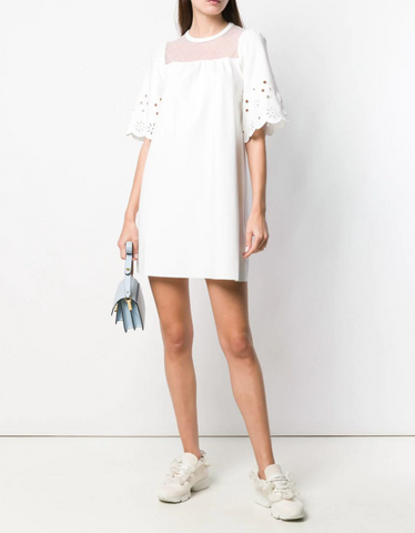 Red Valentino Embellished Sleeves Mini Dress