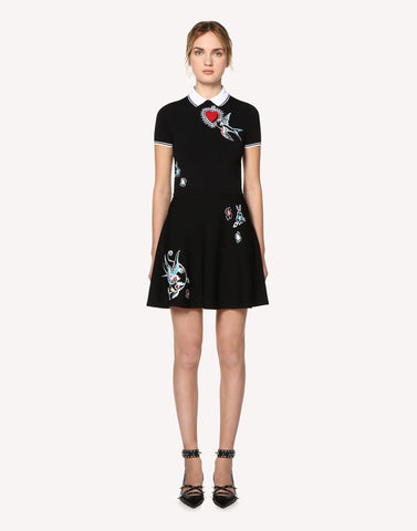 Red Valentino Tatto Jacquard Stretch Viscose Knit Dress