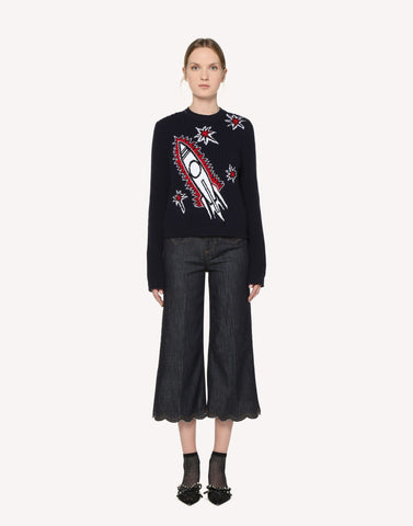 Red Valentino Rocket Jacquard Wool Jumper