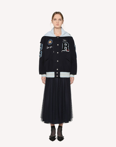 Red Valentino Light Tech Bomber With Embroidered Space Patches