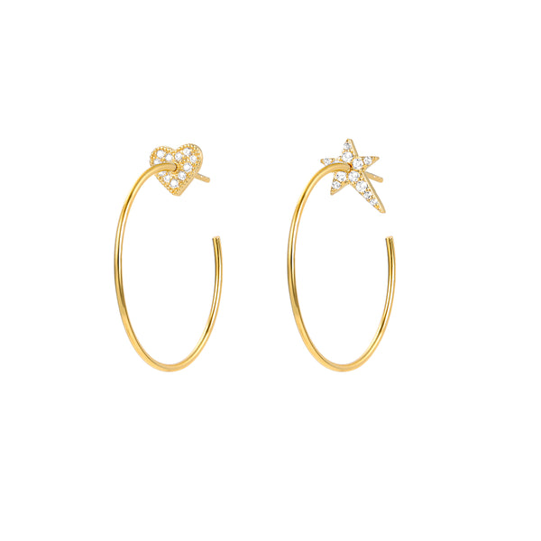 Le Loup Vintage sweetheart Gold Earring with Gold Heart  NO.3