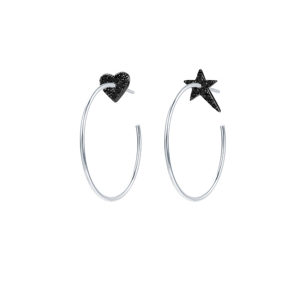 Le Loup Vintage sweetheart Silver Earring with Black Heart  NO.3