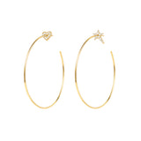Le Loup Vintage sweetheart Gold Earring with Gold Heart  NO.2