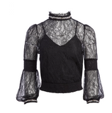 Alice Olivia Jewel Crystal Lace Blouse