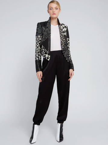 Alice Olivia Harvey Animal Print Leather Jacket