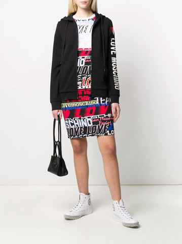 Love Moschino Side Logo Print Drawstring Hoodie