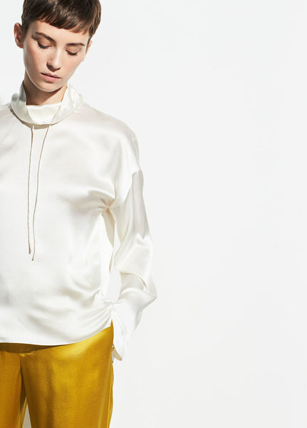 Vince Satin Drawstring Sweatshirt