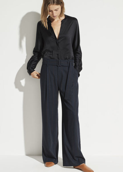 Vince Belted Flannel Wide Leg Pant
