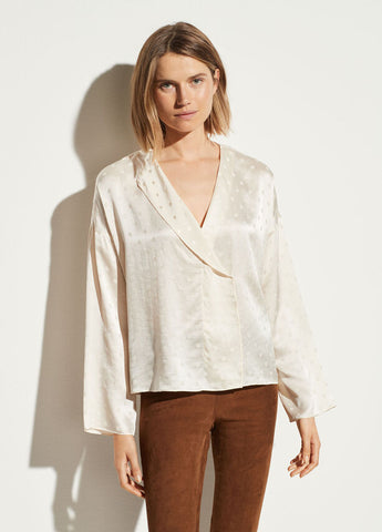 Vince Silk Dot Jacquard Blouse