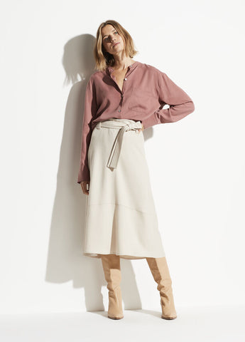 Vince Belted Seamed Wool Skirt