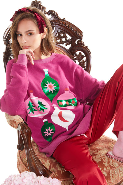 Wildfox Shimmering Ornaments Roadtrip Sweatershirt