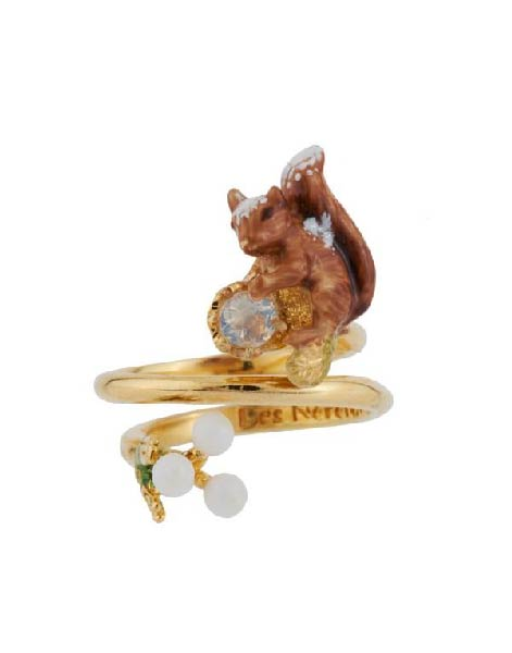 Les Nereides Covered Squirrel And Little White Pearls Adjustable Ring