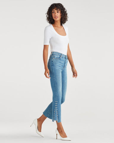 7 For All Mankind Luxe Vintage High Waist Slim Kick with Studs in Beau Blue