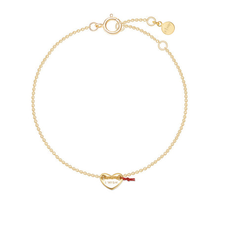 "Le Loup "" I Wish""  Gold Heart Bracelets"