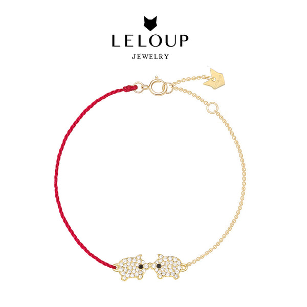 Le Loup Piggy Bracelet Gold with Red Line