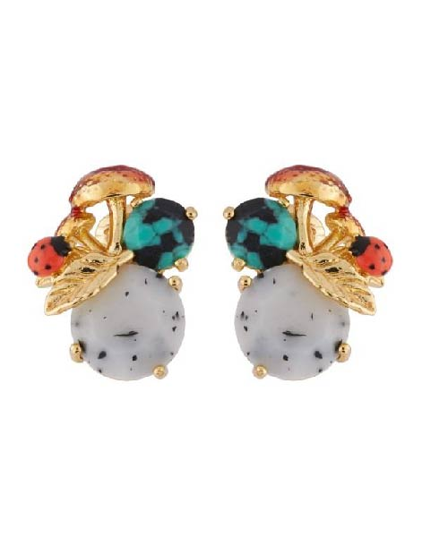 Les Nereides Mushrooms And Ladybrids On Stone Clip Earrings