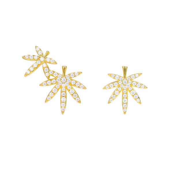 Le Loup Tropical Leaf Earring Gold Right