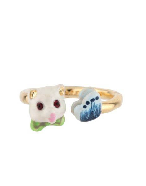 Les Little Cats With Cat and Butterfly Adjustable Ring