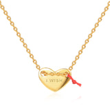 "Le Loup "" I Wish""  Gold Heart Necklace"