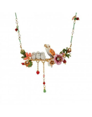 Les Nereides Owl and Her Nestlings on a Flowered Branch Necklace