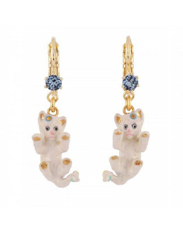 Les Nereides Playful White Cat And Rhinestone French Hook Earrings.