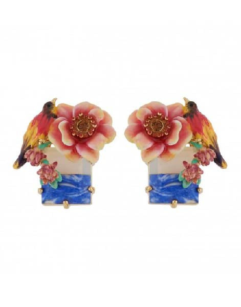 Les Nereides Multcolor Bird And Pink Flower On Stone Earrings