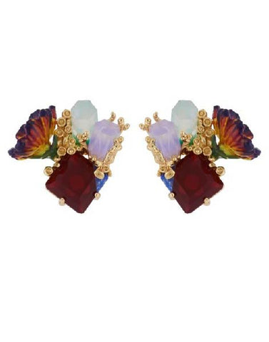 Les Nereides Crystals On Stone And Purple Flower Earrings