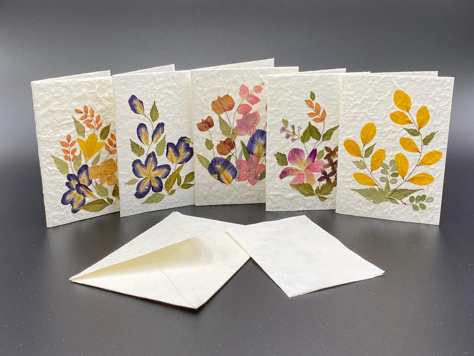 Mulberry Paper Notecards w/ Dried Flowers