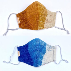 """Sky Blue"" and ""Sunset"" Cotton Ikat Masks"