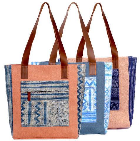 """Boho"" Canvas Tote w/ leather straps"