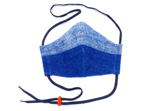 """Blue Horizon"" Handwoven Mask-- with head ties or ear loops in TWO SIZES"
