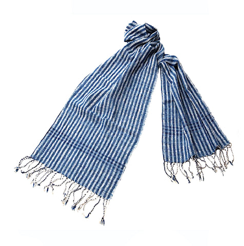 """Shoreline"" Scarf- with full-length BLUE LINES"