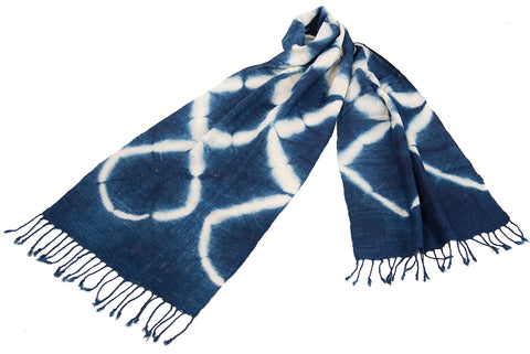 """Shibori X"" Cotton Throw in Indigo"