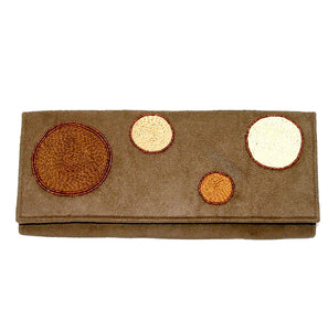 "Joy Oy's ""Circles"" clutch w/ Hand embroidered and beads"
