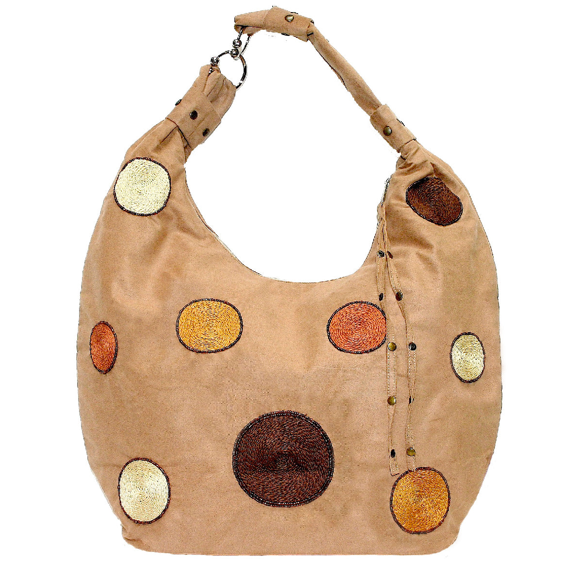"Joy Oy's ""Circles"" Shoulder bag w/ Hand embroidered and beads"