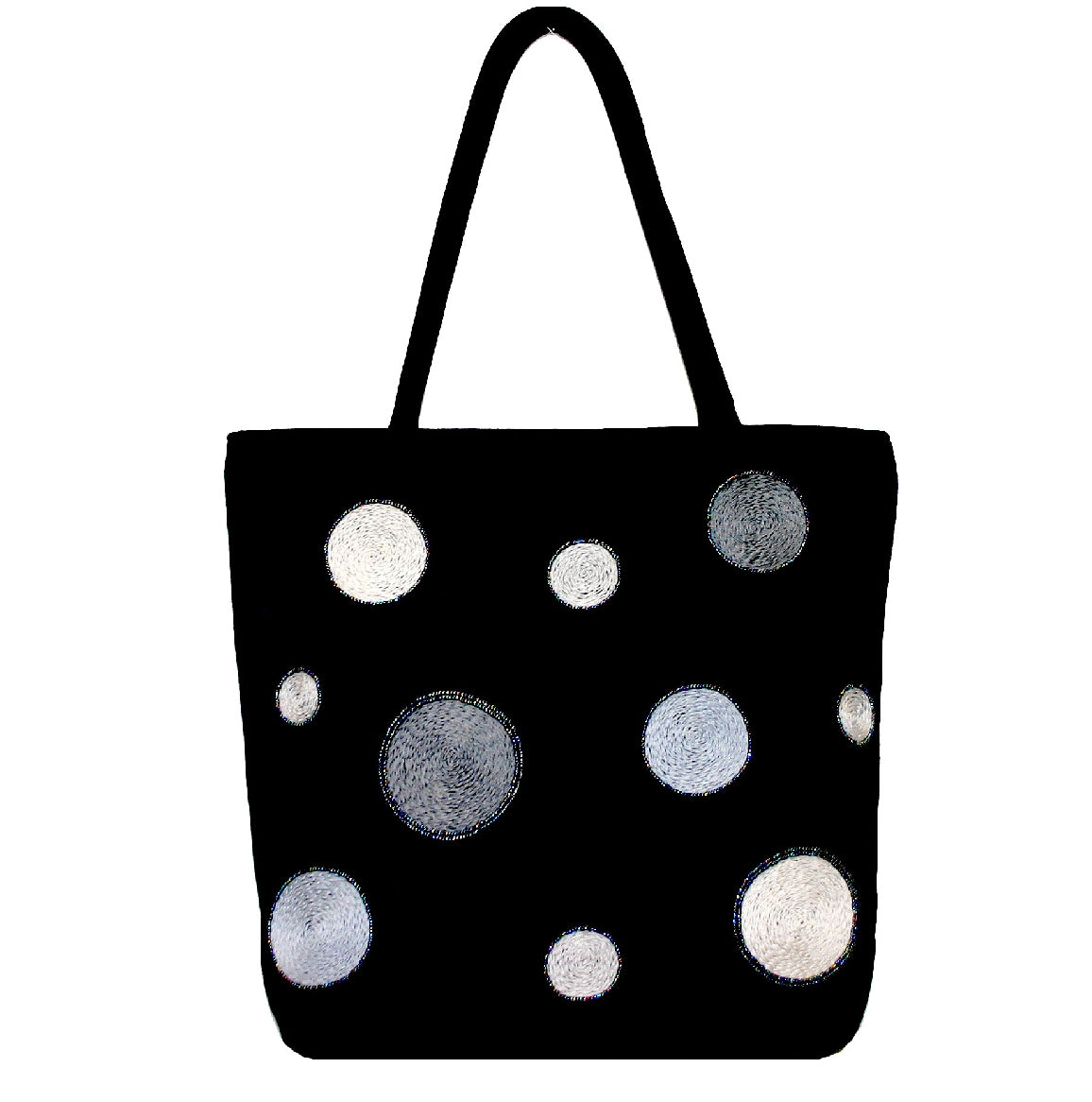 "Joy Oy's ""Circles"" tote w/ Hand embroidered and beads"