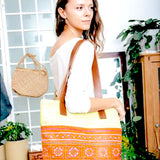 """Mai"" Tote in Recycled Canvas with Vintage Hmong - 3 color options"