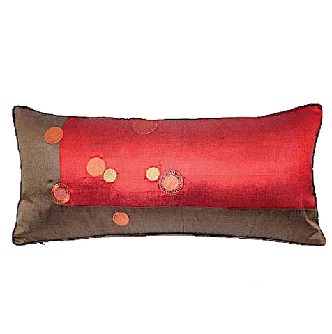 "Embroidered ""Circles"" Pillows, Dupioni Silk 10""x22"""
