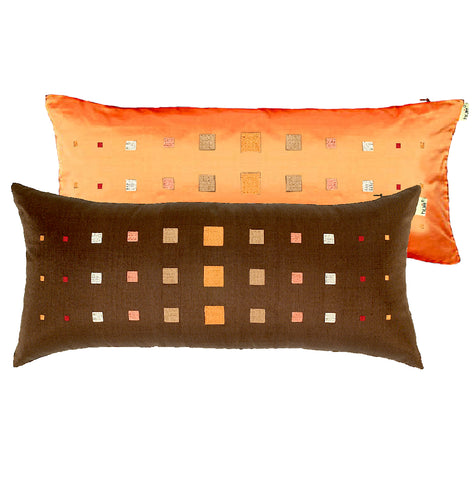 "Embroidered ""Lines of Squares"" Pillows, Dupioni Silk 10""x22"""