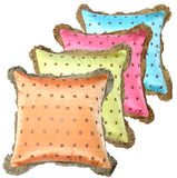"Joy Oy's ""Dottie"" Pillow Covers w/ fringe, brights w/ brown polka dots 16""x16"""